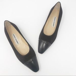 Manolo Blahnik Brown Suede Cap Toe Flat Shoes